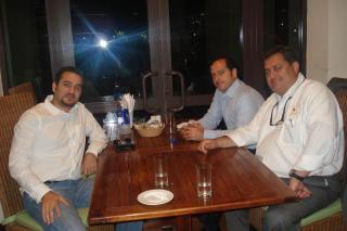 L. to r.: Fadi Maasarani (previous ENGT Engineer now working on Abu-Dhabi Stock Exchange Board Design), Haytham Chehabbdine (Dubai Deloite Investments) & George M. Sfeir