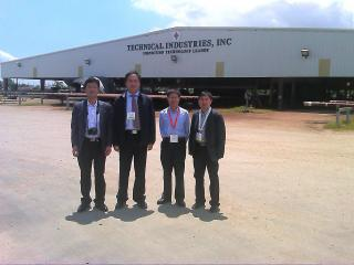 Allen Feng, international trade manager of Baoshida; Xingjun Shang, CEO of Baoshida; Frank Wang; Xiangkun Zhao, General Manager of Dongying Weima Petroleum Drilling Tools CO, LTD