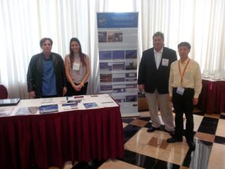 L to R Don Clay, Pilot; Amanda Rachden, Marketing; George M. Sfeir, C.E.O.; Dr. Frank Wang, Research