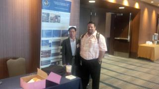 R -L Frank Wang (Tech Ind) Timothy Thomas (Chevron Drilling Engineer Deep Water). API San Francisco Conference. June 23-2015.