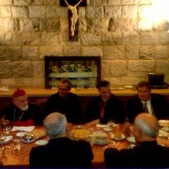 L/R: Cardinal Sfeir, Bishop Paul Rohana, Patriarch & Cardinal El-Rai, and George M. Sfeir.  Dinner at the Patriarchy in honor of George M. Sfeir.